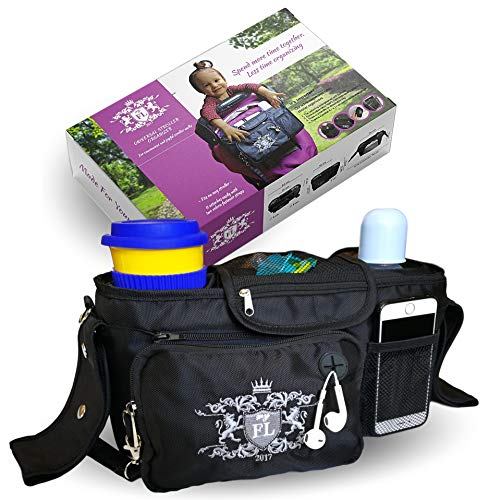 my FL Universal Baby Stroller Organizer Bottle Cloth Diapers Holder Hanging Storage Bag (Black)