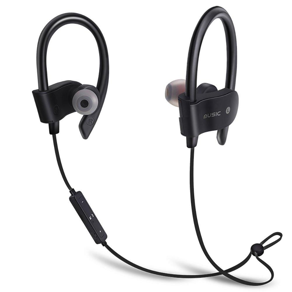Bluetoothヘッドホン 最高のワイヤレススポーツイヤホン マイク付き IPX7 防水 HDステレオ 防汗イヤホン ジム ランニング ワークアウト用 8時間バッテリー ノイズキャンセリングヘッドセット (ブラック) B07PNN8F86