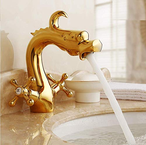 Sink Mixer Tap Bath Taps Full Copper Antique Hot and Cold Water Faucet Dragon-Shaped Retro Heightening Single Hole Basin Faucet