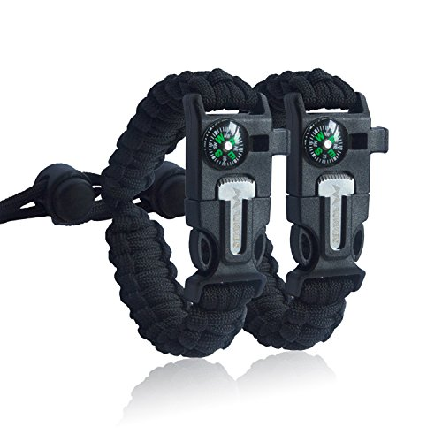 [2 pack] ROKKES PB03 Multifunctional Emergency Paracord Bracelet For KIDs, Adjustable, Sahara Sailor, Outdoor Survival Kit, Compass, Flint, Fire Starter, Scraper, Whistle, For Hiking Camping Emergency