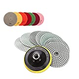 EZlife Diamond Polishing Pads,Concrete polishing Pads 4 inch Wet/Dry 7 Piece Set with Rubber Backer Pad Arbor 5/8'' 11 for Granite, Stone, Marble, Travertine (Grit 50-3000)