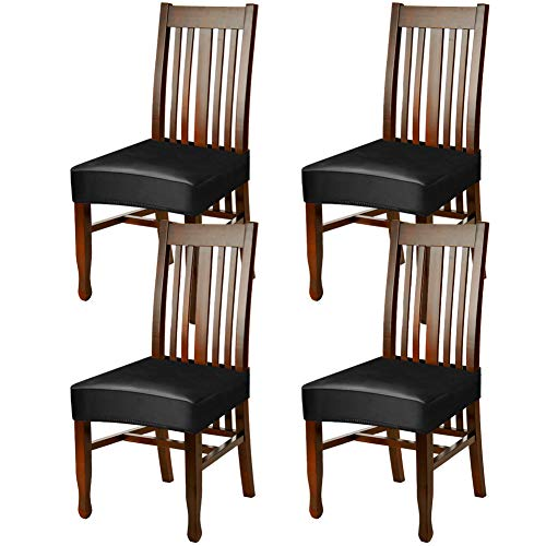 Fuloon Dining Chair Seat Covers,PU Leather Waterproof and Oilproof Removable Stretch Dining Chair Protctor Cover Slipcover (4 Sets, BK)