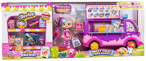 Collector's Edition Shopkins - Sweet Treat Truck Deluxe - Includes 8 Exclusive Shopkins Hiding in 8 Cute Mini Packs and Exclusive Styled Bubbleisha!