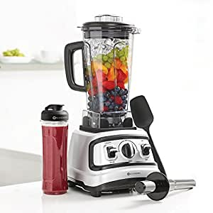 4 Pc All-In-One Professional Blender Set- (Includes 2L Jug, Tamper, Silicone Spatula, Air-tight seal, Measuring Lid & 20oz to-go Cup), Silver/Black, Industrial-Strength, 1500 Watts, 2.0 HP, High-Speed