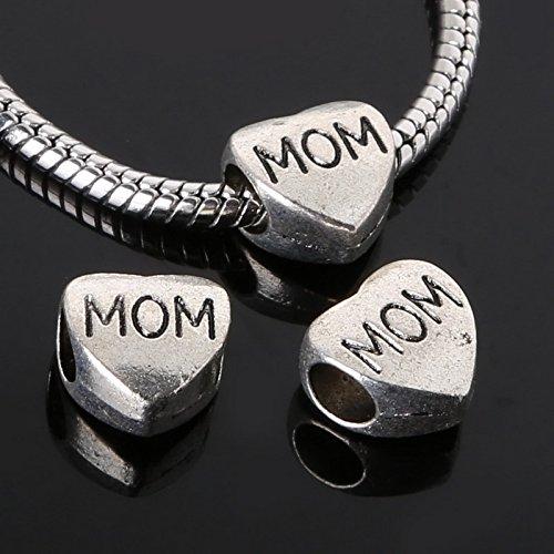 FunnyPicker 6Pcs 1111Mm Antique Silver Mom Heart European Beads Alloy (Iron Fish Pendant)