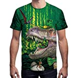 NUWFOR Mens 3D Print Casual St. Patrick's Day Short-Sleeved Shirt Top Blouse(Green,XL US Chest:45.7''
