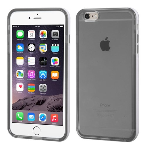 """MEGATRONIC White Belly Grey Smoke Transparent Clear Dual Layer Bumper Glossy Candy Case Cover Skin for Apple iPhone 6 5.5 5.5"""" W/ Stylus"""