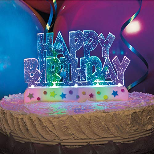 Way to Celebrate Flashing Multicolor Happy Birthday Cake Decoration
