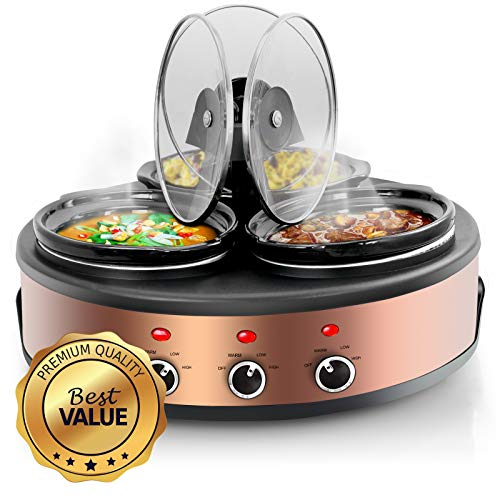 MegaChef MC-1103 Round Triple 1.5 Quart Slow Cooker and Buffet Server in Brushed Copper and Black Finish with 3 Ceramic Cooking Pots and Removable Lid Rests, Copperwith