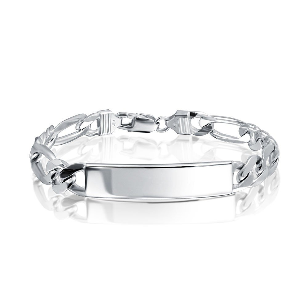 NYC Sterling Unisex Sterling Silver 7mm Gauge Figaro ID Bracelet, Made in Italy. (8'')