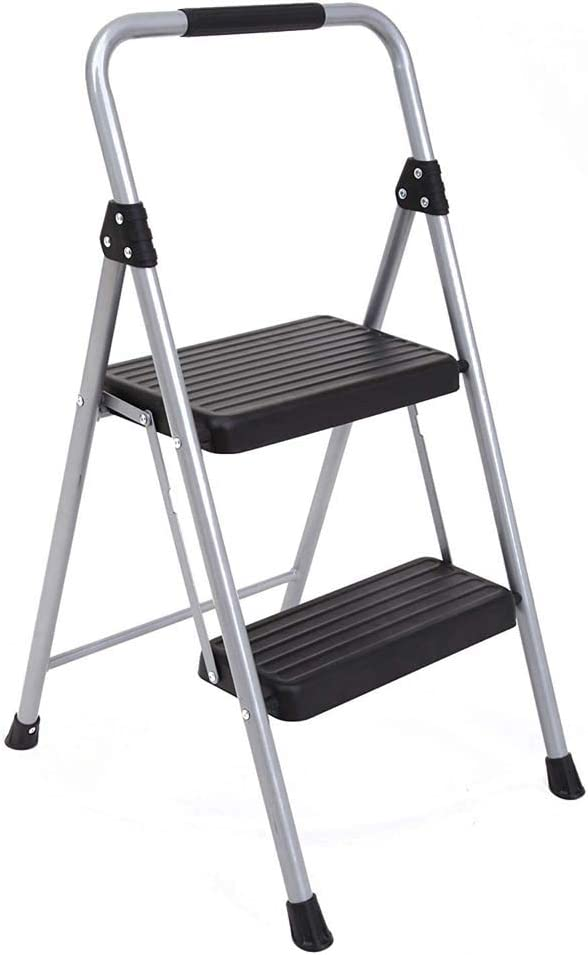 Rziioo Taburete Plegable de 2 peldaños Taburete de Acero Ligero con empuñadura de PVC - Escalera Multiusos para el hogar y la Oficina: Amazon.es: Deportes y aire libre