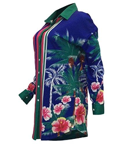 Vestito Blu Shirt Splicing Manica Comodi Floreale Stampate Risvolto Donne Lungo xzURaW0