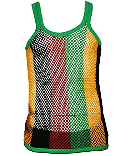 3e24f0901a1a7a UD Accessories Mens Fitted String Mesh Vest Muscle Fishnet Cotton Rasta  Black Red Green Yellow - Buy Online in UAE.