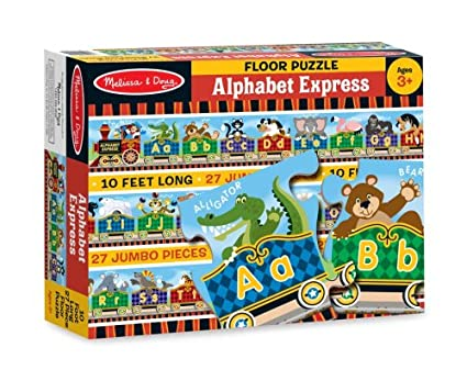 amazon com melissa doug alphabet express jumbo jigsaw floor