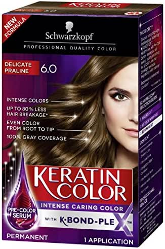 Schwarzkopf Keratin Color Anti-Age Hair Color Cream, 6.0 Delicate Praline (Packaging May Vary)