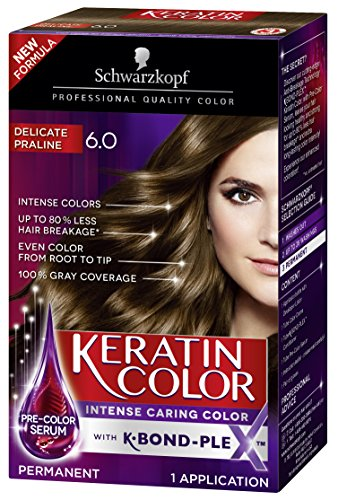 Schwarzkopf Keratin Color Anti-Age Hair Color Cream, 6.0 Delicate Praline (Packaging May Vary), 1 Count
