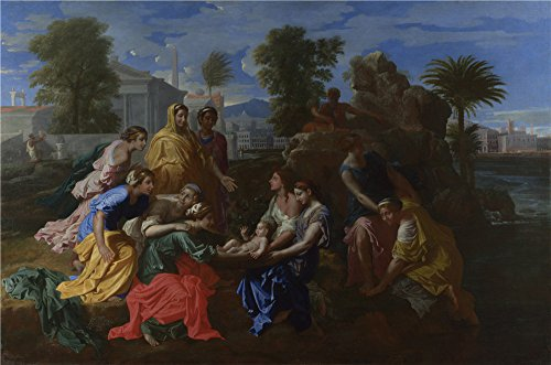 [polyster Canvas ,the High quality Art Decorative Prints on Canvas of oil painting 'Nicolas Poussin The Finding of Moses ', 10 x 15 inch / 25 x 38 cm is best for gift for girl friend and boy friend and Home artwork and] (Moses Costume Ten Commandments)
