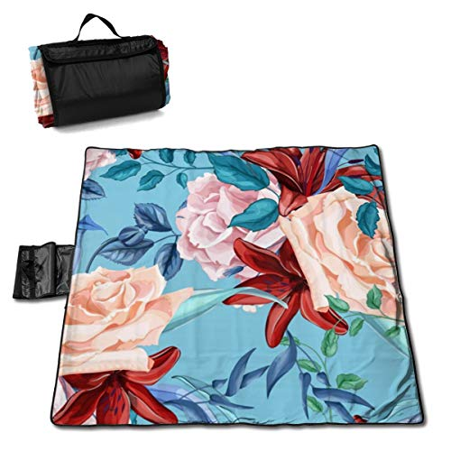 Passionate Bouquet Rose - STWINW Outdoor Picnic Blanket Rose Lily Bouquet Beach Blanket - Waterproof 57 * 59in Foldable Ground Cove Picnic Mat Tent Mat Lawn Mat Portable Tote Lightweight Mat Perfect for Picnics