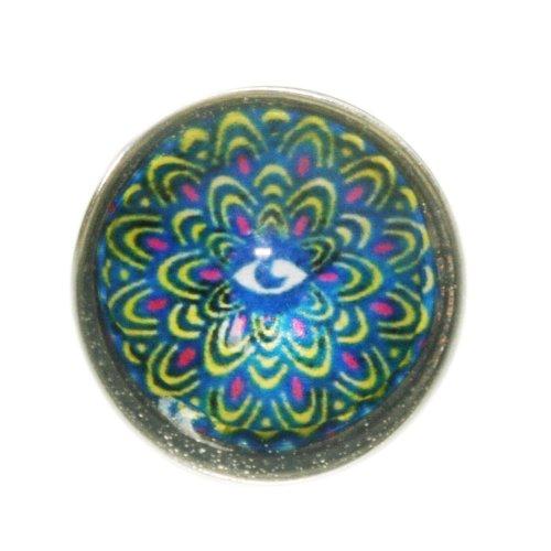 Hidden Gems - 1 x Chunk Clique Bouton Boutons à Pression Pour Bracelet, Oeil Bleu