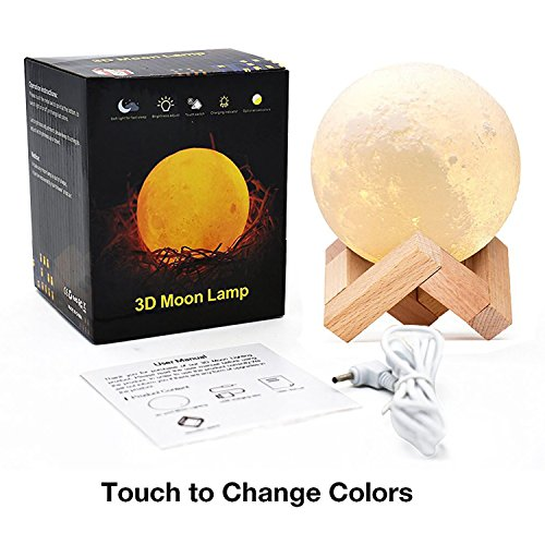 3D Printed Moon Lamp LED Baby Night Light Instagram 5000+Likes Wooden Base Touch Sensor Control 2-colors Dimmable Switch for Bedroom Birthday Decoration (Diameter 3.15 inch)