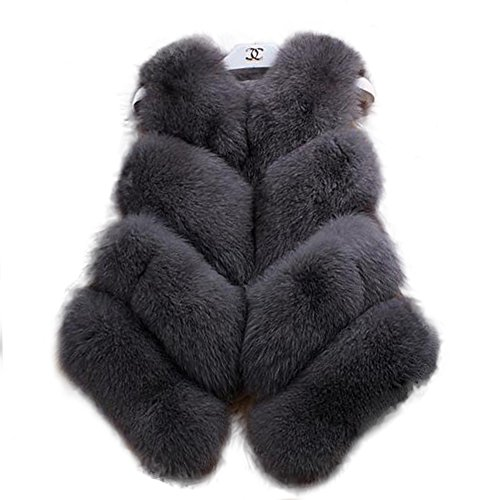 Manka Vesa Womens Winter Luxury Natural Real Fox Fur Real Fur Coat Vest Outerwear Party Club Cocktail Dark Gray