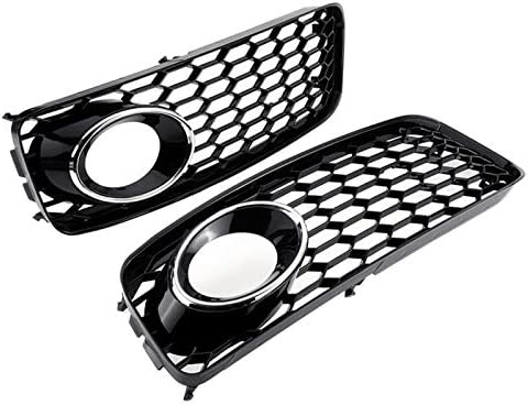 S5 B8 Rs5 2008-2012 Chrome Silver Moligh doll 1Pair Car Front Bumper Fog Light Cellular Grid Hexagonal Front Ventilation Grille For A5 S-Line