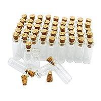 50pcs 1ml pequeños frascos de botellas de vidrio pequeños con tapones de corcho /bodas de mensaje desean favores de fiesta de joyería /- Tamaño: pequeños frascos de botellas de vidrio pequeñas con tapones de corcho /bodas de mensaje deseo fiesta de
