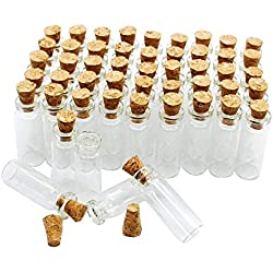 50pcs 1ml Small Mini Glass bottles Jars with Cork Stoppers/ Message Weddings Wish Jewelry Party Favors/ - Size: Small Mini Glass bottles Jars with Cork Stoppers/ Message Weddings Wish Jewelry Party Favors