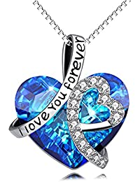 """I Love You Forever"" Sterling Silver Heart Pendant Necklace with Swarovski Crystals"