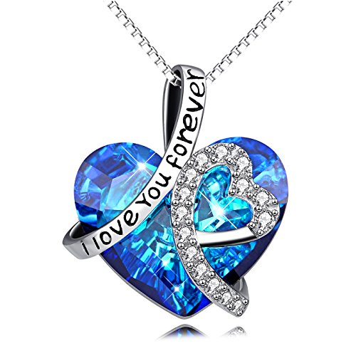 AOBOCO Heart Necklace 925 Sterling Silver I Love You Forever Pendant Necklace with Blue Swarovski Crystals Jewelry for Women Anniversary Birthday Girls Girlfriend Wife Daughter Mom