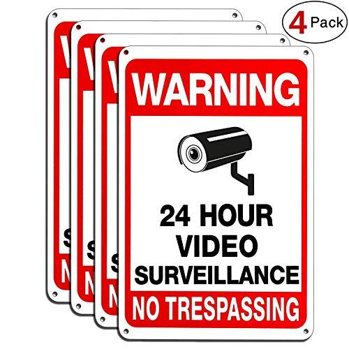 Vwarn 4-Pack Video Surveillance Sign, No Trespassing Metal Reflective Warning Sign, 10