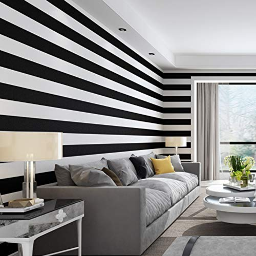 (Black White Horizontal Vertical Stripe PVC Waterproof Wallpaper For Living Room Hotel Decoration 0.53 10m1 /roll)