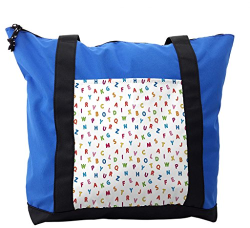 Lunarable ABC Kids Shoulder Bag, Cute Alphabet Fonts Study, Durable with Zipper by Lunarable