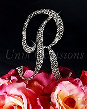 Unik Occasions Sparkling Collection Monogram Cake Topper Letter R44; Silver44; Extra Large