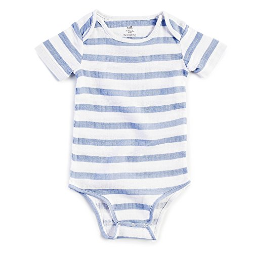 Aden by aden + anais Baby Short Sleeve Body Suit, Dashing Stripe, 0-3M