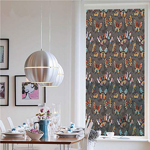 (RWNFA Custom Pattern Privacy Window Film,Cartoon Style Vibrant Color Animals on Dark Background with Shadows Retro(19.7