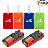 Luggage Tags Travel ID Tags with Address Card Luggage Straps Suitcase Belts for Travel - Multi Colored