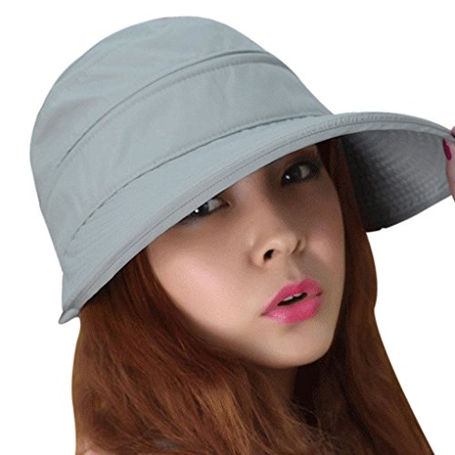 90c6375ade6fe Women s 2 in 1 Anti UV Beach Sun Hat Golf Cap Tennis Cycling Fishing Cap  Removable Top Cover Open-top Wide Brim Sunhat Shapeable Peaked Floppy  Travel Bucket ...