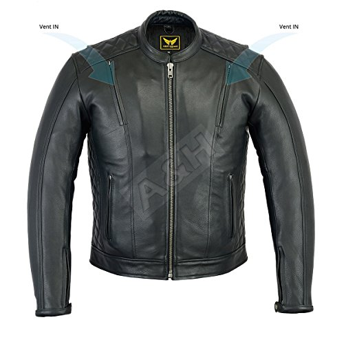 A&H Apparel Mens Leather Motorcycle Jacket Genuine Cowhide Naked Vented Zip Out Lining Jacket ()