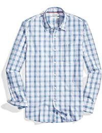 Men's Slim-Fit Long-Sleeve Multi Stripe Plaid Shirt