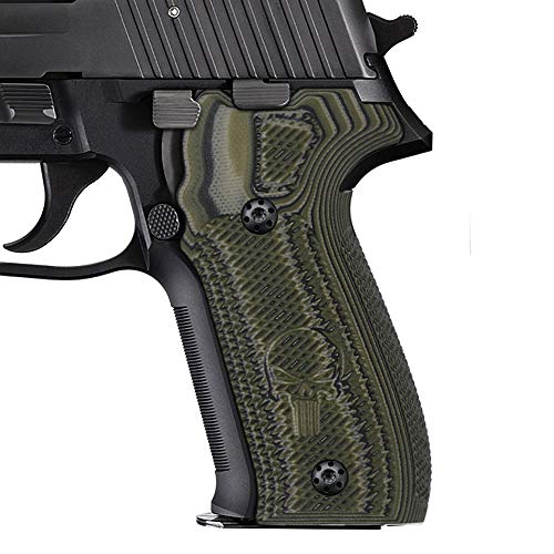 Cool Hand Grips Compatible with Sig Sauer P226, Checkered w/Punisher Texture, OD/Black G10, 226-CP-21