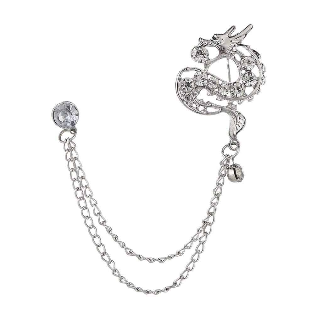 Prettyia Crystal Dragon Brooch Chain Crystal Lapel Pins Badge with Chain Tassel for Blouse Shirt Collar Pins