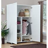 Wardrobe Storage Cabinet, White,ArmorCoat Surface Protection Provides Superior Water, Stain and Scratch Resistance