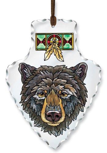 Amia Hand-Painted Glass Arrowhead Bear Suncatcher, 7-Inch by 5-1/2-Inch - Hand Painted Glass Head