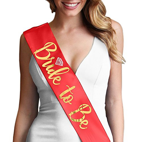 Bride To Be with Diamond Gold Foil Sash - Bachelorette Party Decorations Red