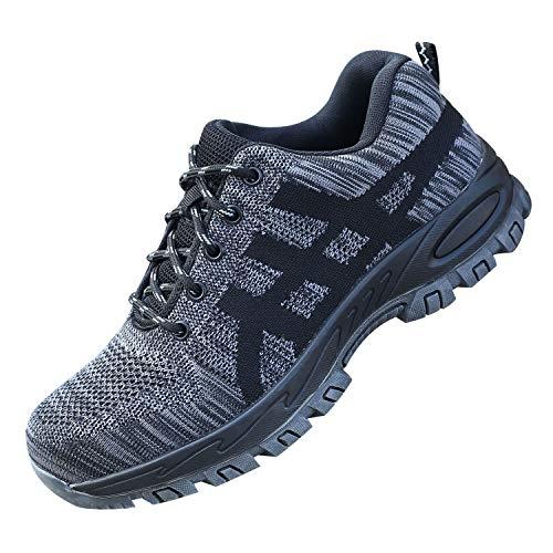 JACKSHIBO Steel Toe Work Shoes for Women Men Safety Indestructible Shoes Construction Puncture Proof Shoes Toe Cap Hiking Shoes Grey 10 M Women/8.5 M Men