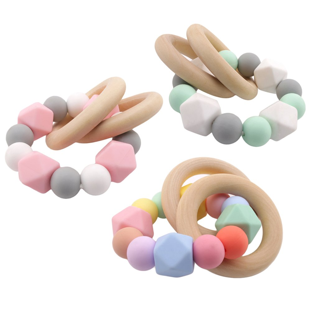 Best for baby Silicone Beads Baby Teething Nursing Accessories Bracelet Wooden Ring Montessori Toys Baby Shower Gift Home Toys