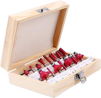 4EVERHOPE 15pcs/set Fresas de fresado 6.35mm/8mm/12.7mm vástago Fresa de carburo de tungsteno con caja de madera para cortador de madera Grabado Herramientas de corte (6.35mm (1/4