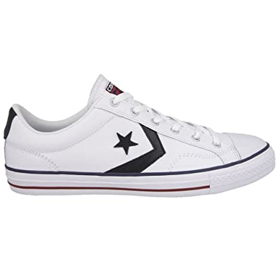 ced3180e05582c Converse Men s Star Player EV Ox Leather Lace Up Trainer White    Black-White-
