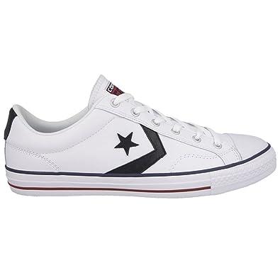 c5b7a4da50f1 Converse Men s Star Player EV Ox Leather Lace Up Trainer White   Black-White -